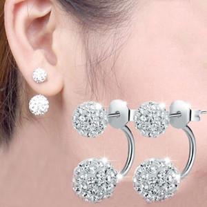 Di alta qualità 925 Sterling Silver Double sided Shambala Ball orecchini con perno di cristallo discoteca perline orecchini gioielli belle per le donne ragazze