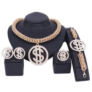 المال الدولار الأمريكي قلادة قلادة سوار حلقة القرط مجموعات مجوهرات سلسلة ذهبية اللون للنساء حزب حجر الراين بلينغ مجوهرات