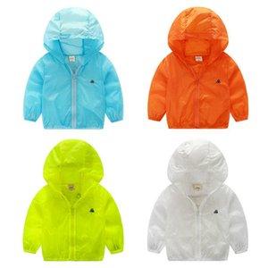 Plain Summer Children Coat Sun ropa protectora para bebé con capucha de dibujos animados ligera chaqueta transpirable para niños