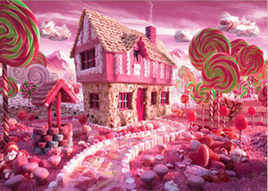 Fantasy Sweet Candy Land House Baby Birthday Party Photography Fondali Rosa Neonato Bambini Foto sfondi per Studio