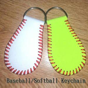 Бейсбол софтбол брелок, кожаный брелок софтбол, софтбол подарок Keychain, ключевая цепь, изготовленный на заказ Бейсбол, реальная кожа
