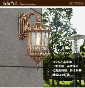 Courtyard 1 Stück Auminum wasserdichte Außenwandleuchte Led Retro Antikglas Wandleuchte American Brass Balkontür Licht Lampe