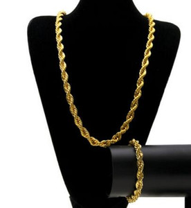 قلادة الهيب هوب مطلي بالذهب 1 سم حبل سلسلة السرد مجموعة من قلادة وسوار