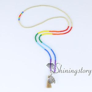 7 colar chakra sete cura chakra jóias uk árvore da vida colar de pingente com borla yoga espiritual cura jóias atacado