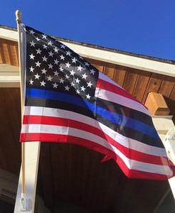 2020 hot BlueLine Police EUA Flags 90 * 150 centímetros fina linha azul da bandeira dos EUA Black Red flag linha com latão Grommets Drop Shipping