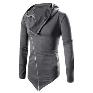 Autunno Inverno uomini di modo all'ingrosso lungo incappucciato trincea irregolare di modo Solid Zipper cappotto del rivestimento del mantello tuta sportiva del cappotto Plus Size L3