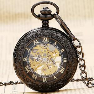 Atacado-Elegante De Vidro Preto Retro Romano Número Esqueleto Dial Steampunk Mecânica Fob Relógio de Bolso Com Cadeia Para Homens Mulheres