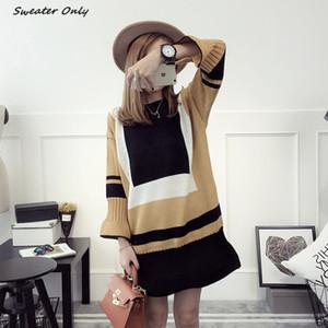 Wholesale-2016 nueva venta caliente novena otoño invierno de las mujeres de la manga del suéter de punto vestidos mujer suéteres jersey de punto dulce de largo 3 colores