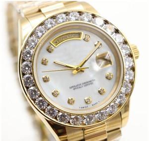2017 President Day Date Montre en or 18 carats de mode perpétuelle Grand diamant Lunette Or Acier inoxydable Bracelet original Automatique Hommes Montres