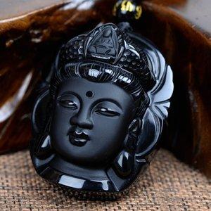 Perle Rideau Naturel Obsidienne Gommage Pendentif Noir Guanyin Tête Pendentifs Transhipped Tête de Bouddha