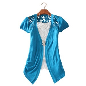 Atacado-New Womens Lace Crochet Knit Blusa Top Coat Camisola Cardigan Camisa de Manga Curta Frete grátis