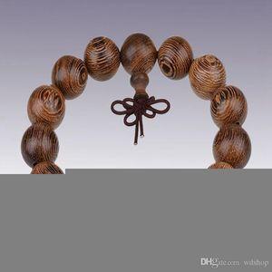 Bouddhiste Tibétain 12/15/18 / 20mm Wengé Perles Bracelets Bracelet Bouddha Bracelet Yoga Perles En Bois Mala Charm Prière Perles Bracelets