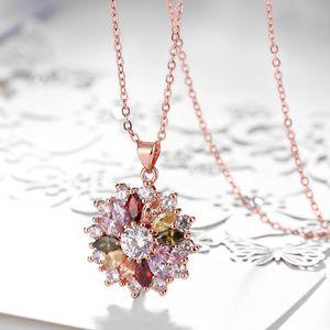 Hohe Qualität Zirkon Halskette Modeschmuck Halskette Rose Gold Farbe Halsketten Bunte Kristall Blume Geformt Halsketten Frauen Mode Jewe