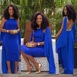 Королевский Синий Кристалл Африканское Вечернее Платье Ближний Восток Саудовская Аравия Вечерние Платья с Открытой Спиной Wed Guest Women Dress Мода Новый Дизайн