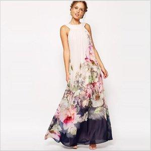 2017 Summer Floral Print Maxi Dresses Womens Beach Club Casual Loose Chiffon Sleeveless O Neck Long Plus Size Fashion Boho Clothes OXL072901