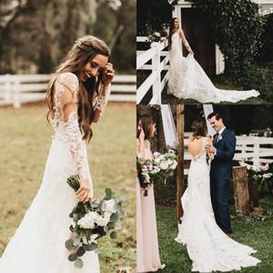 2020 Primavera Estate Pizzo Abiti da sposa della nuova annata Sheer maniche lunghe e schiena scoperta Beach abiti da sposa per il Garden Country