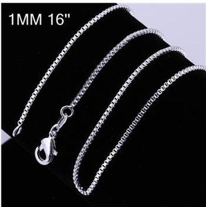 "20pcs lot 925 sterling Silver 1MM Box Chain Necklace 16"" 18"" 20"" 22"" 24"" for Pendants"
