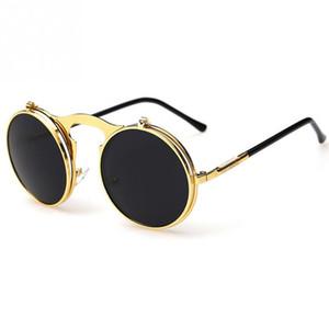 2016 Новый Винтаж стимпанк солнцезащитные очки круглый дизайнер пара панк металл OCULOS де соль женщины солнцезащитные очки мужчины ретро круг солнцезащитные очки