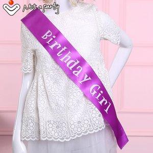 Al por mayor-Purple birthday girl sash diversión adulto regalo de la ceremonia 18 21 30 40 50 60 cintas de recuerdos de cumpleaños evento suministros del partido