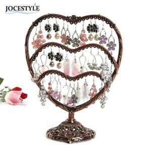 58 Buracos Preta Bronze Titular Brinco Stand display Coração Jóias Display Rack de Presente para a Mãe Esposa