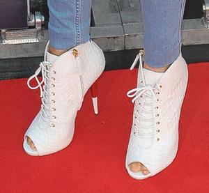 Lace Up White Black Leather Tacchi sottili Stivaletti alla caviglia Scarpe Prezzo all'ingrosso Lady Outdoor Peep Toe Sandali Stivali scarpe tacchi alti
