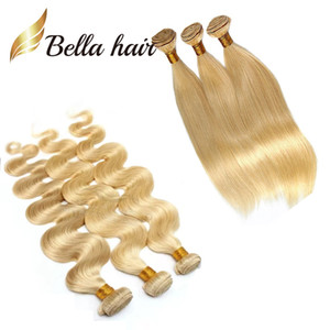 3pcs / lot 8A Honey Blonde Menschenhaar-Webart natürliche gerade Blonde Bundles brasilianische Haar-Verlängerungs-Körper-Wellen-613 Bella Haar-Bundles