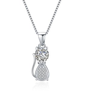 925 Sterling Silver Cubic Zirconia with Crystal Accents Cat Pendant Necklace