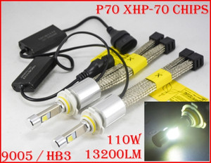 1 kit P70 110W 13200LM 9005 HB3 / 9006 HB4 Kit phare à LED XHP70 Puce sans ventilateur SUPER Blanc 6000K Phare anti-brouillard moteur H4 H8 H11 Rep CACHÉ