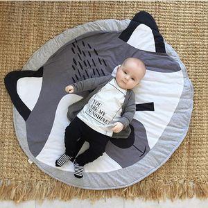 Cartoon animals, pure cotton, children's climbing mat, Fox game mat, round carpet, children's room decorations free shipping