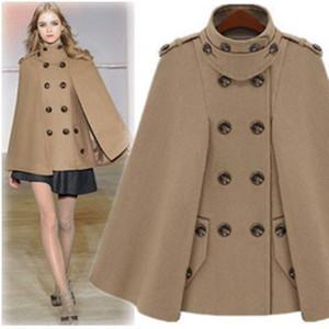 De lujo del mantón del cabo del poncho de capa Ponchos Escudo Escudo Escudo de la Mujer Outwear Europa de la manera de lana otoño Invierno capa