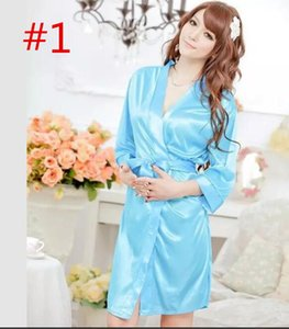 Dressing Gowns Sexy Women Satin Lace Robe Sleepwear Lingerie Nightdress G-string Pajamas 150pcs