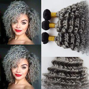 Ombre Color # 1B Gris Profundo Wave Curly Malaysian 9A paquetes de cabello humano 3 Unids / lote Dos Tonos Dark Root Sliver Gris Extensión del cabello humano