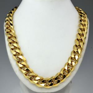 Heavy Mens oro 18k riempito solido cubana collana della catena del bordo N276 60cm 50 centimetri
