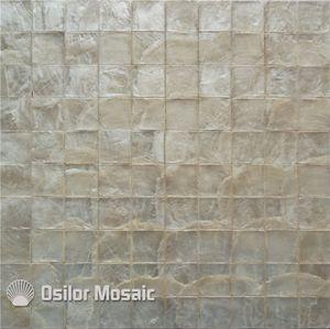 Padrão quadrado cor branca 100% capiz shell mãe de pérola mosaico de azulejos para sala de estar parede telhas CS06