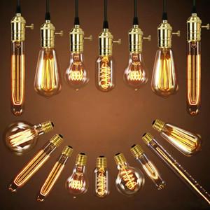 40W Lâmpada retro Edison Bulb ST64 soquete Vintage DIY pendant corda E27 incandescente lâmpadas LED 220V 110V Luzes do feriado filamento da lâmpada Lampada