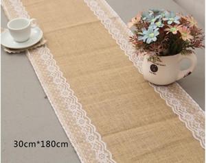 10 Unids / lote 30 cm * 180 cm Vintage Arpillera de Encaje Hessian Table Runner Natural Jute Wedding Party Decoración del hogar suministros