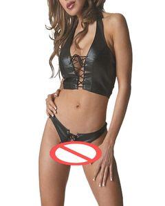 Exclusivo Gótico Punk PU Conjunto de lencería de cuero Mujer con cordones ropa interior Stripper Bikini Polo Club Dance Costume