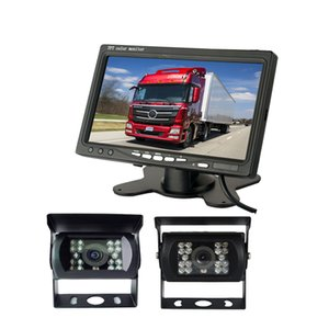 "2 xVehicle Backup Reverse Camera + 7 ""pollici LCD Monitor Car Rear View Kit + 10m cavo video per lungo Truck Bus 12V / 24V"
