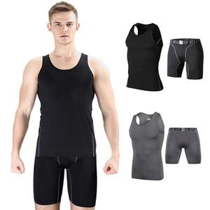 Traje de capa base de compresión de los hombres Traje de running chaleco de entrenamiento y pantalones cortos
