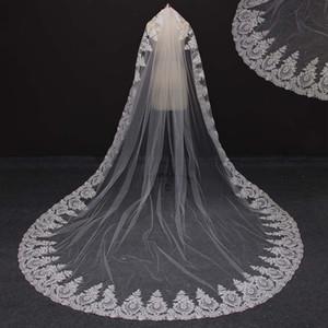 Fotografías reales de una sola capa Mantilla Lace Edge Gorgeous Wedding Velos Blanco Marfil Estilo Vintage Bridal Veil NV7080
