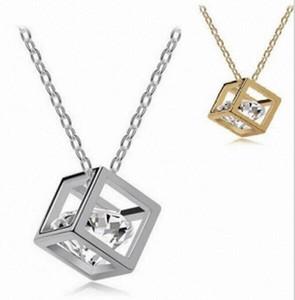 Forme el cubo del amor collar tridimensional de cristal salvaje Pequeña caja cadena de clavícula corta colgante collar wholsale envío gratis