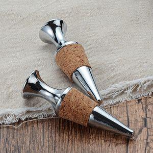 Cono en forma de vino tinto Champagne Aleación de zinc Material de madera Tapón de botella de vino de corcho, San Valentín Regalos de boda