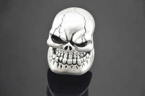 Universal Gear Shift Knob Universal Silver Manual Gear Stick Shift Shifter Lever Knob Wicked Carved Skull Mask Free Shipping