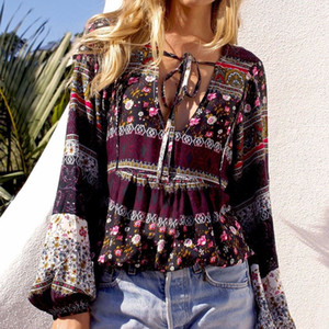 2017 Boho Vintage Floral Print Blouses Autumn Shirts ZANZEA Women Blusas Femininas Casual Long Sleeve Deep V Neck Plus Size Tops