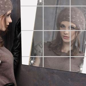 16x Espejos Azulejos de Mosaico Autoadhesivos Pegatinas de Pared Calcomanías Cuadradas Calientes Calcomanías Para Belleza Espejo Decoración
