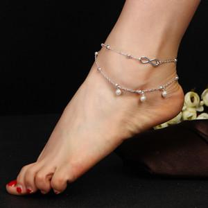 Золото Серебро Ножной браслет Браслет изящных ювелирных изделий Босоножки Босоножки с бусинками Жемчужная цепочка Leg Chaine pulseras tobilleras On Foot браслеты женские