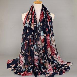 Toptan-Yeni gelmesi kadın printe çiçek desen viskon şallar hicap uzun şal müslüman Susturucu 7 renk atkılar / eşarp 180 * 90 cm