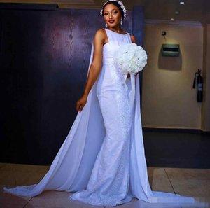 2019 Sheath Crew 화이트 쉬폰 신부 드레스 레이스 앙티크 페르시 보호 웨딩 드레스 Paolo Sebastian Counrty Wedding Dresses