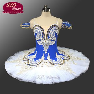 Adulto azul ballet profissional palco tutu azul e branco clássico ballet desempenho traje personalizado ld0028