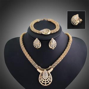 Sistemas de la joyería de la boda Venta caliente Pendientes de plata Chocker Collares Anillo Bracele Set para mujeres Girl Party Jewelry Venta al por mayor envío gratuito 0508-1WH
